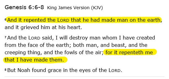 Repented in Genesis 6:6